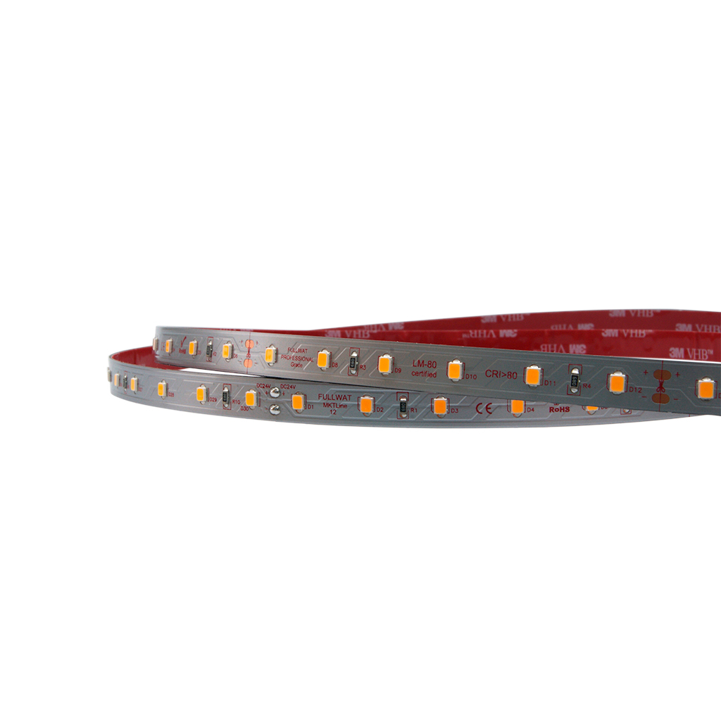 FULLWAT - MKT-2835-PK4-HX. LED strip for food | chicken meat application. Professional Series. 5000K Pink. 24Vdc - 12W/m - 60 led/m - 960 Lm/m - CRI>76 - IP20 - 5m